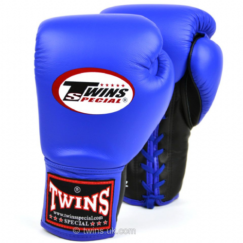 Twins Lace Up Competition Gloves - Blue